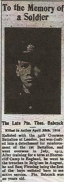 Newspaper Clipping– This image is taken from the Paisley (Ontario) Advocate, May 17, 1916 issue.