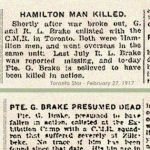 Newspaper Clipping– Pte. Geoffrey Bertram Brake's brother was Pte. Rex Lawrence Brake, service number 109236.