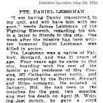Press clipping 2– Article appearing in the Hamilton Spectator on May 5th, 1916.