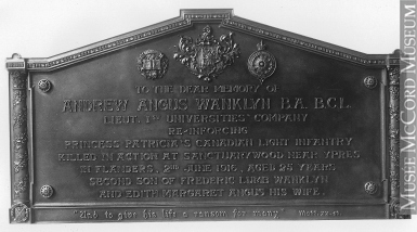 Memorial– Andrew Angus Wanklyn, 1917 war memorial tablet