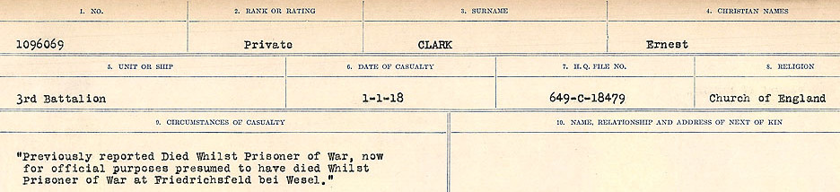 Circumstances of Death Registers– Source: Library and Archives Canada.  CIRCUMSTANCES OF DEATH REGISTERS, FIRST WORLD WAR Surnames:  CHILD TO CLAYTON.  Microform Sequence 20; Volume Number 31829_B016729. Reference RG150, 1992-93/314, 164.  Page of 531 of 1068.