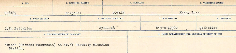 Circumstances of Death Registers– Source: Library and Archives Canada.  CIRCUMSTANCES OF DEATH REGISTERS, FIRST WORLD WAR Surnames:  CLEAL TO CONNOLLY.  Microform Sequence 21; Volume Number 31829_B016730. Reference RG150, 1992-93/314, 165.  Page 1265 of 1384.
