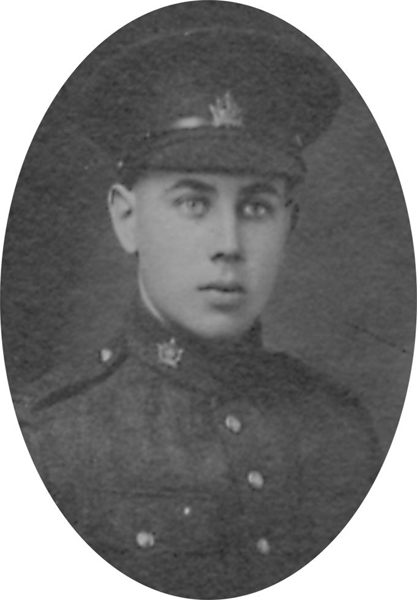 Photo of STANLEY CHARLES WILKERSON– From a collage photo layout of members of A Company and the bugle band of the 157th Canadian Infantry Battalion.