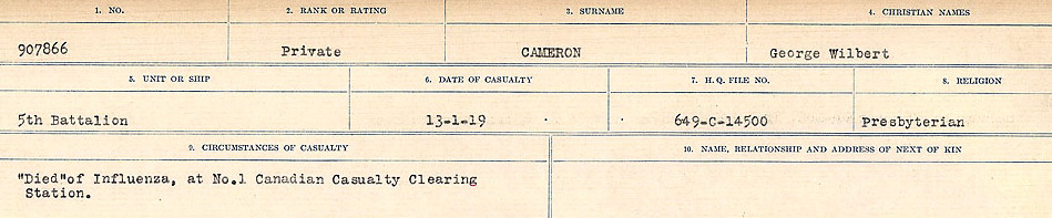 Circumstances of Death Registers– Source: Library and Archives Canada.  CIRCUMSTANCES OF DEATH REGISTERS, FIRST WORLD WAR Surnames:  Cabana to Campling. Microform Sequence 17; Volume Number 31829_B016726. Reference RG150, 1992-93/314, 161.  Page 407 of 1024.