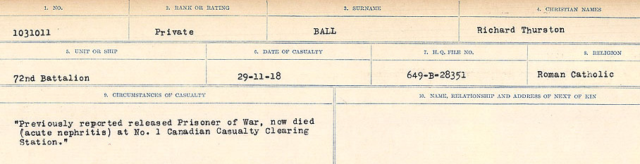 Circumstances of Death Registers– Source: Library and Archives Canada.  CIRCUMSTANCES OF DEATH REGISTERS, FIRST WORLD WAR Surnames:  Babb to Barjarow. Microform Sequence 5; Volume Number 31829_B016715. Reference RG150, 1992-93/314, 149.  Page 729 of 1072.