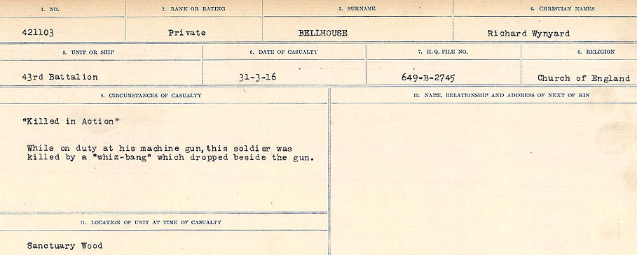 Circumstances of Death– Source: Library and Archives Canada.  CIRCUMSTANCES OF DEATH REGISTERS FIRST WORLD WAR Surnames:  Bell to Bernaquez.  Mircoform Sequence 8; Volume Number 31829_B016718; Reference RG150, 1992-93/314, 152 Page 285 of 670.