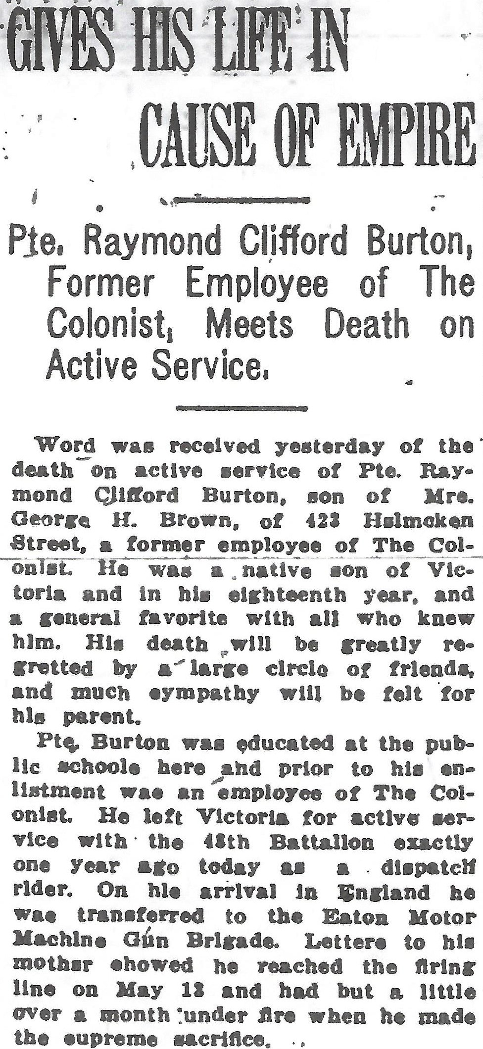 Newspaper clipping– From the Daily Colonist of June 24, 1916. Image taken from web address of https://archive.org/stream/dailycolonist58y168uvic#mode/1up.