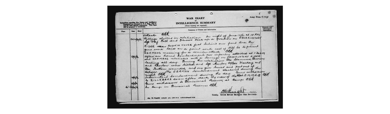 Wartime diary– Page 6 of the war diary of the Eaton Motor Machine Gun Battery which details the circumstances of death for Private Burton.