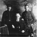 Photo of Robert B. Hewlett– This is a Photo of My Great-Great Grandfather Edwin Hurdich Hewlett and his two sons.  Eldest son Robert B. Hewlett can be seen on the left. Edwin Willian Hewlett on the right (wearing his Liverpool Scottish uniform)