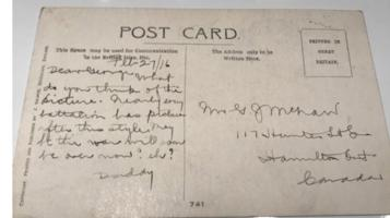 Post Card (Reverse)– This was the back of a postcard sent from George Orme McNair in February, 1916 to his son George.