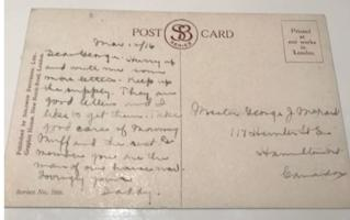 Post Card (Reverse)– This was the back of a postcard sent from George Orme McNair in March, 1916 to his son George.