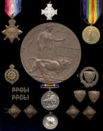Medals– 14/15 Star, BWM, VM, Death Plaque, and Memorial Cross to Lt C.A. Pope, along with personal effects and badges. Sadly, his two brothers would also perish in the Great War.