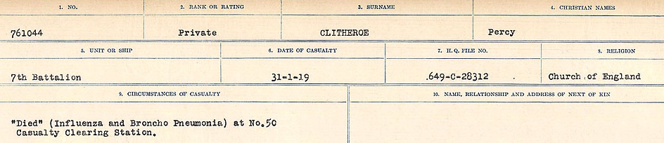 Circumstances of Death Registers– Source: Library and Archives Canada.  CIRCUMSTANCES OF DEATH REGISTERS, FIRST WORLD WAR Surnames:  CLEAL TO CONNOLLY.  Microform Sequence 21; Volume Number 31829_B016730. Reference RG150, 1992-93/314, 165.  Page 249 of 1384.