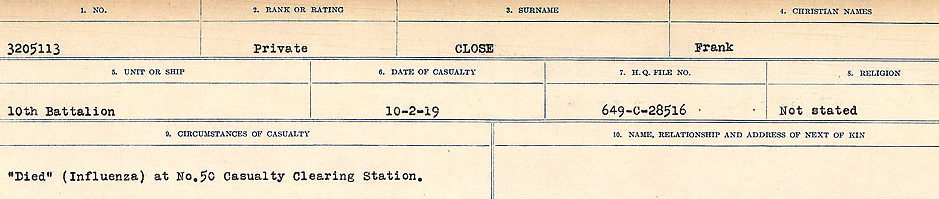 Circumstances of Death Registers– Source: Library and Archives Canada.  CIRCUMSTANCES OF DEATH REGISTERS, FIRST WORLD WAR Surnames:  CLEAL TO CONNOLLY.  Microform Sequence 21; Volume Number 31829_B016730. Reference RG150, 1992-93/314, 165.  Page 263 of 1384.