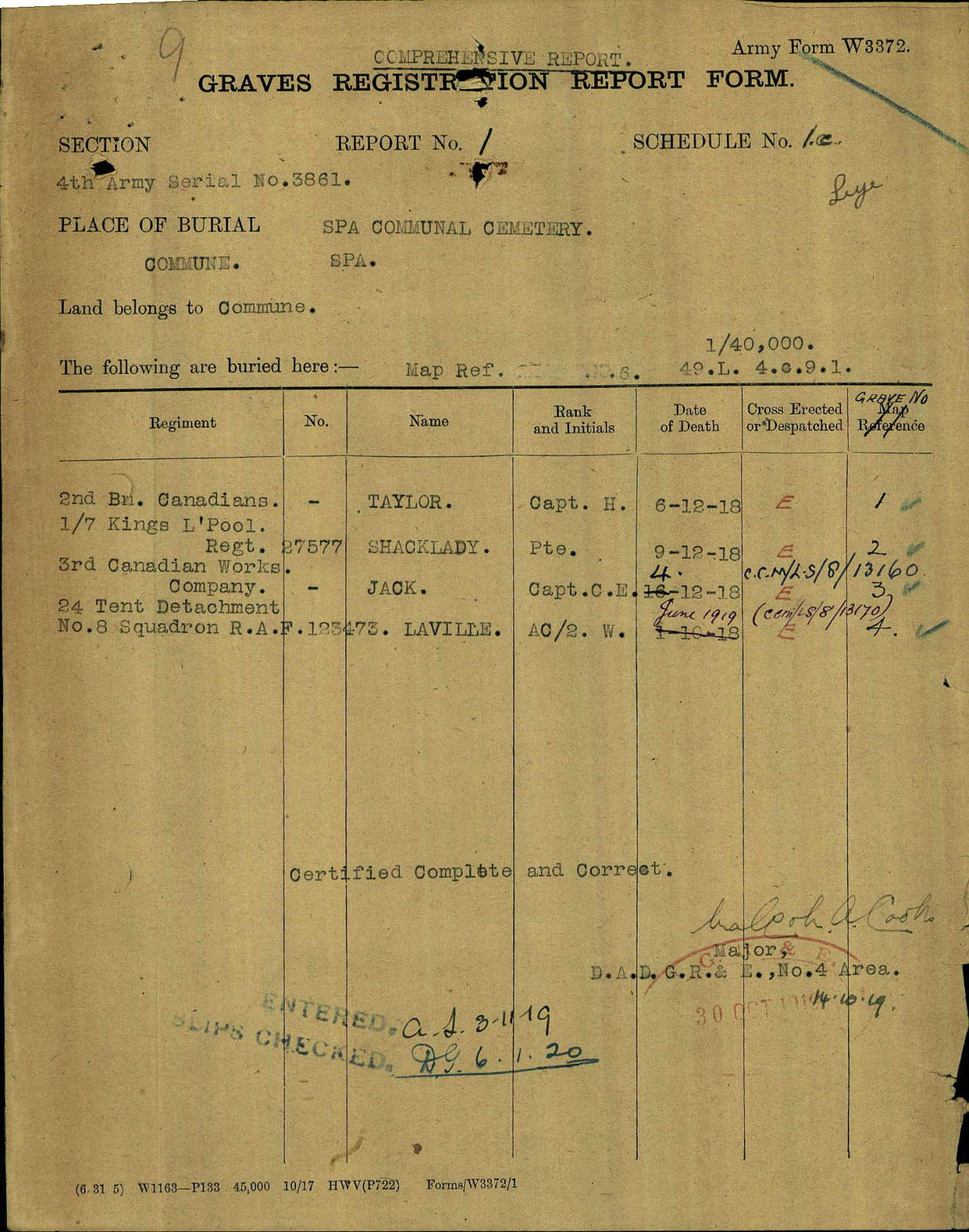 Report– Captain Harry Taylor is one of two Canadian Captains that died at No. 64 Casualty Clearing Station in December 1918, as the Canadian's marched to the Rhine after the Armistice. It appears both died on pneumonia (perhaps the Spanish Flu). The image shows the Grave Registration Report Form from the CWGC for the Spa Communal Cemetery in the Liege area of Belgium.