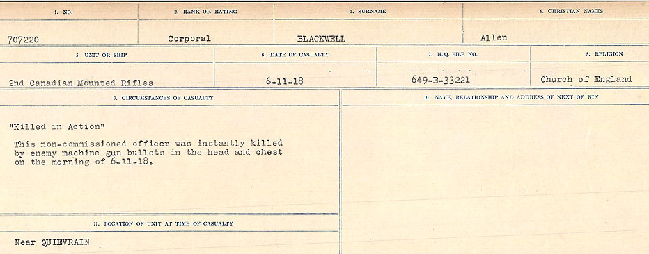 Circumstances of Death Registers– Source: Library and Archives Canada.  CIRCUMSTANCES OF DEATH REGISTERS FIRST WORLD WAR Surnames: Birch to Blakstad. Mircoform Sequence 10; Volume Number 31829_B034746; Reference RG150, 1992-93/314, 154 Page 527 of 734