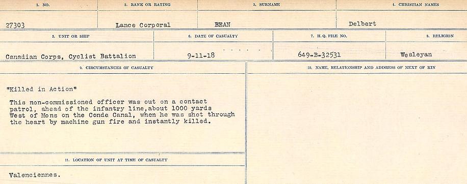 Circumstances of Death Registers, First World War