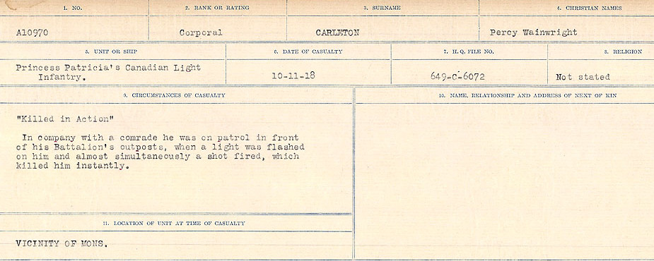 Circumstances of Death Registers– Source: Library and Archives Canada.  CIRCUMSTANCES OF DEATH REGISTERS, FIRST WORLD WAR Surnames:  Canavan to Caswell. Microform Sequence 18; Volume Number 31829_B016727. Reference RG150, 1992-93/314, 162.  Page 233 of 1004.