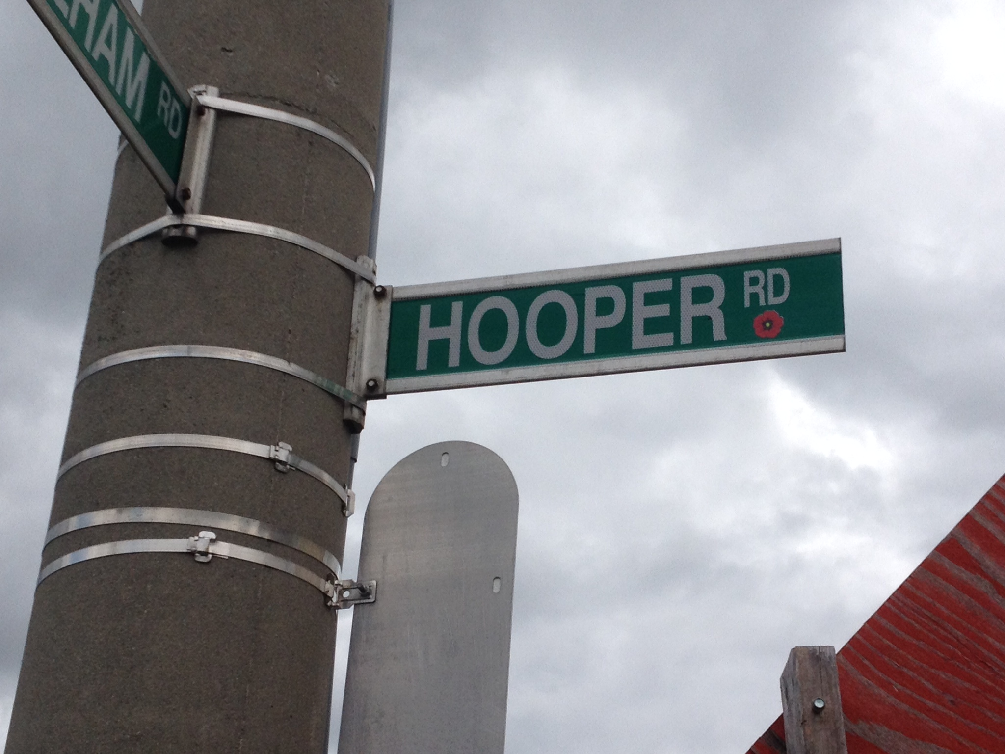 Memorial Street– Barrie street named in honour of Private Ernest Hooper with a poppy.