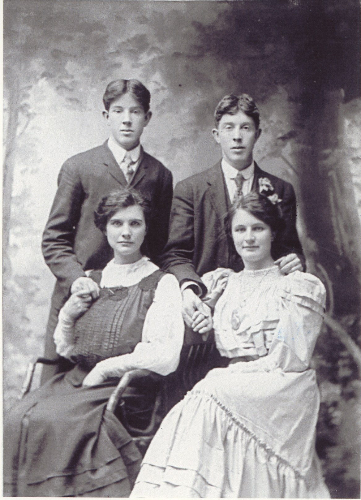 "Family photo– Jenny Watson/Christian Campbell Wedding Party Nov. 28, 1906. L-R: Thomas F. Watson and brother John Henry ""Jack"" Watson, Irene Gordon Gunn Campbell and sister Edina Gunn Campbell."