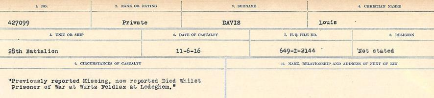 Circumstances of death registers– Source: Library and Archives Canada. CIRCUMSTANCES OF DEATH REGISTERS, FIRST WORLD WAR. Surnames: Dack to Dabate. Microform Sequence 26; Volume Number 31829_B016735. Reference RG150, 1992-93/314, 170. Page 1041 of 1140. Initially buried in the Military Cemetery, Ledeghem, Belgium.