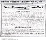 Press clipping– Appeared in the Winnipeg Evening Tribune on July 2, 1915.