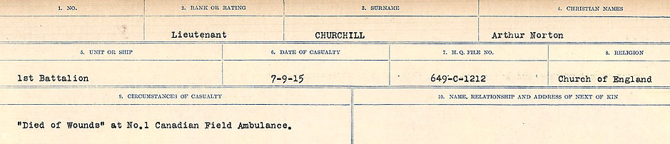 Circumstances of Death Registers– Source: Library and Archives Canada.  CIRCUMSTANCES OF DEATH REGISTERS, FIRST WORLD WAR Surnames:  CHILD TO CLAYTON.  Microform Sequence 20; Volume Number 31829_B016729. Reference RG150, 1992-93/314, 164.  Page 345 of 1068.