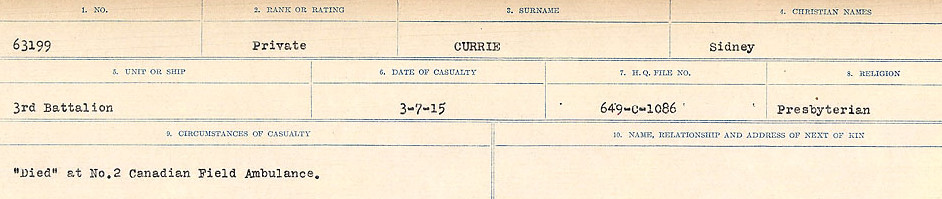 Circumstances of death registers– Source: Library and Archives Canada. CIRCUMSTANCES OF DEATH REGISTERS, FIRST WORLD WAR Surnames: Crossley to Cyrs. Microform Sequence 25; Volume Number 31829_B016734. Reference RG150, 1992-93/314, 169. Page 651 of 890.