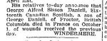 Newspaper Clipping– From the Toronto Star for 15 October 1915.