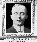Photo of Frederick Albright– From: The Varsity Magazine Supplement Fourth Edition 1918 published by The Students Administrative Council, University of Toronto.   Submitted for the Soldiers' Tower Committee, University of Toronto, by Operation Picture Me.