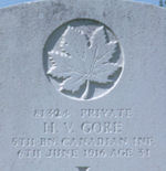 Grave Marker– In May 2002 I travelled to Ieper (Ypres), Belgium to locate my great uncle Horace Victor Gore's grave. It is in the Larchwood Cemetery, 4 km south east of Ieper town centre. This is the image I took of his grave stone. It meant a great deal to me to be able to locate and visit his grave. I would like to share this image with all his surviving family members who have never been able to make the trip to visit his grave.