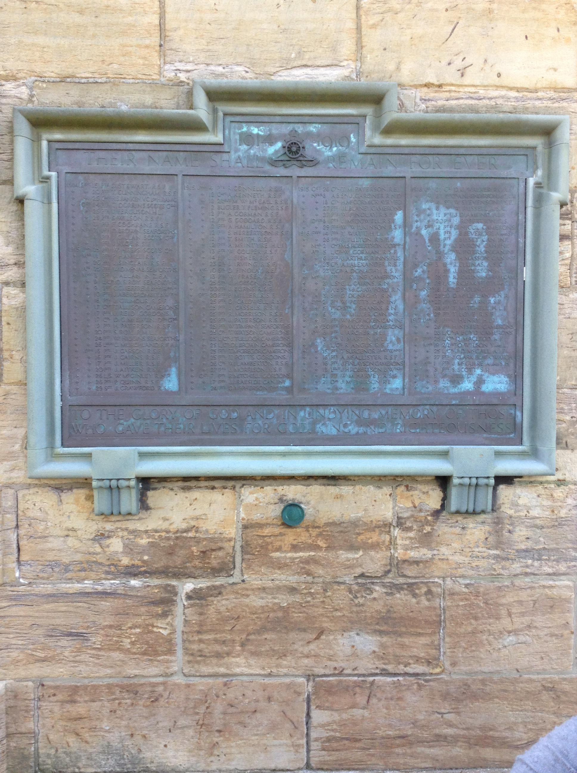 War Memorial– WWI Memorial on wall of Irvine Old Parish Church, Kirkgate, Irvine, Ayrshire, Scotland.  William Potts's name is the 19th in the third column. Image taken 24 August 2014 by Tom Tulloch.