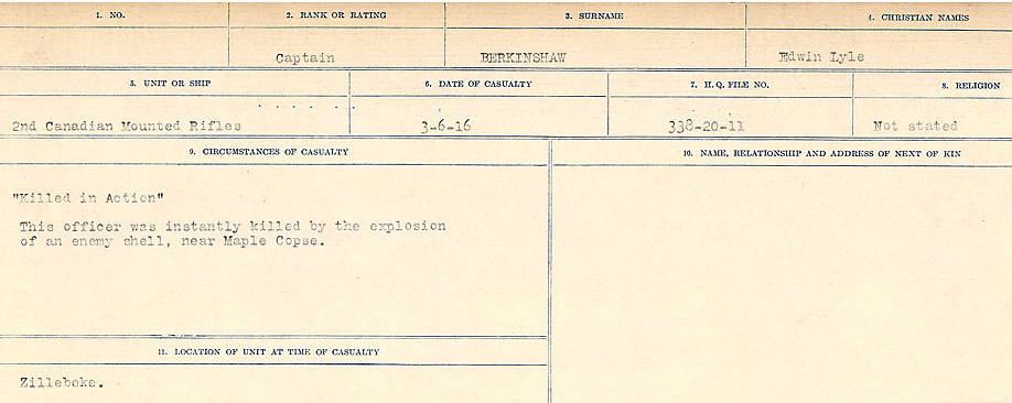 Circumstances of Death Registers– Source: Library and Archives Canada.  CIRCUMSTANCES OF DEATH REGISTERS FIRST WORLD WAR Surnames:  Bell to Bernaquez.  Mircoform Sequence 8; Volume Number 31829_B016718; Reference RG150, 1992-93/314, 152 Page 661 of 670