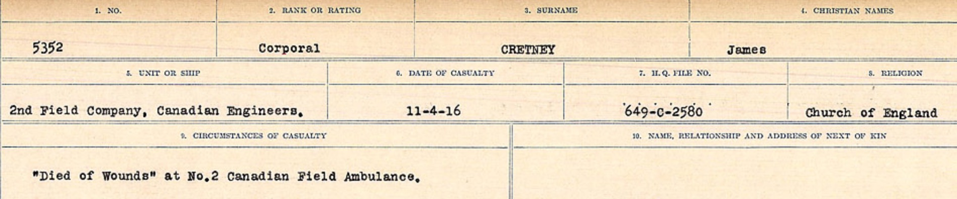 Circumstances of death registers– Source: Library and Archives Canada. CIRCUMSTANCES OF DEATH REGISTERS, FIRST WORLD WAR Surnames: CRABB TO CROSSLAND Microform Sequence 24; Volume Number 31829_B016733. Reference RG150, 1992-93/314, 168. Page 485 of 788.