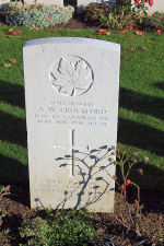 Photo of A.W. CROCKFORD– The grave marker at the Railway Dugouts Burial Ground Cemetery located approximately 3 kilometres to the south of Ieper, Belgium. May he rest in peace. (J. Stephens 2010)