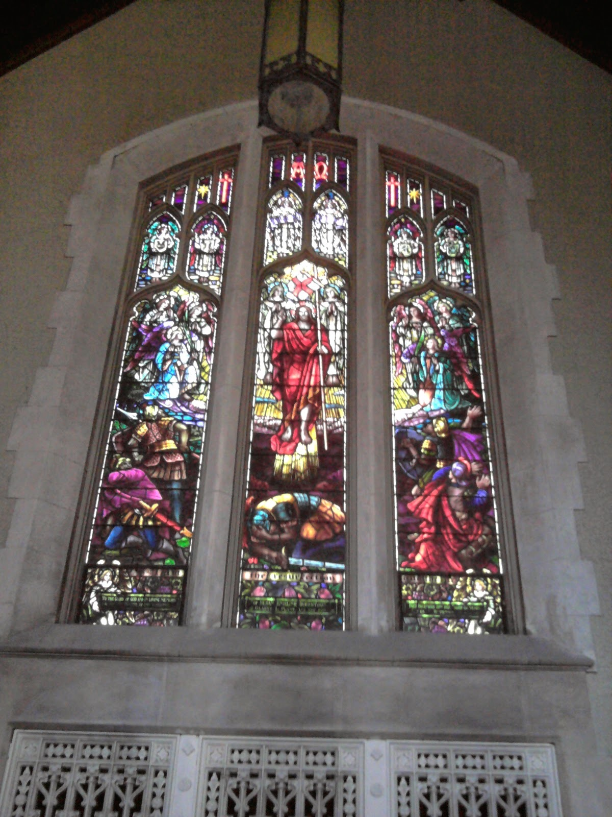 Memorial Stained Glass– 'The Resurrection' by Robert McCausland Limited was dedicated at St Matthew's Anglican Church in the Glebe, Ottawa on 17 Jan 1921 to the members of the church who served during the Great War. The window was transferred to the current site, 217 First Avenue in 1938.
