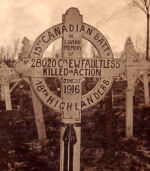 Temporary Grave Marker– This is an earlier gravestone for Ted Faultless at the Railway Dugouts Cemetery near Ypres.