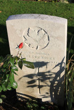 Photo of Canadian Virtual War Memorial– The grave marker at the Railway Dugouts Burial Ground Cemetery located approximately 3 kilometres to the south of Ieper, Belgium. May he rest in peace. (J. Stephens 2010)