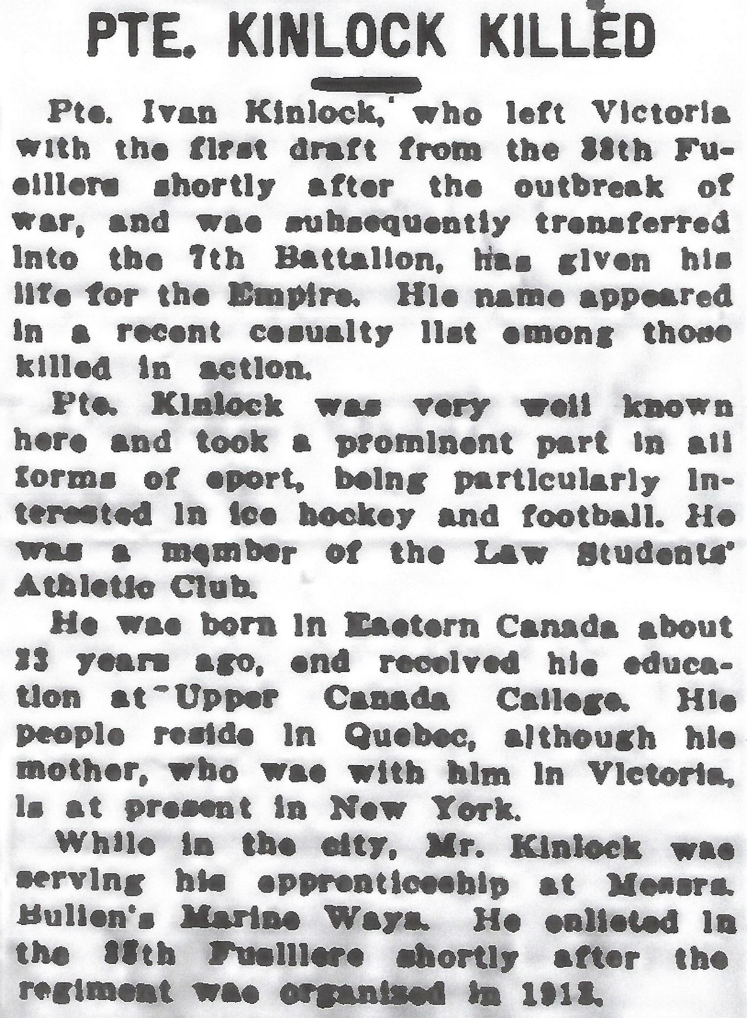 Newspaper clipping– From the Daily Colonist of April 28, 1916. Image taken from web address of https://archive.org/stream/dailycolonist58y119uvic#mode/1up