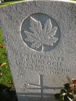 Grave Marker– The grave marker at the Railway Dugouts Burial Ground Cemetery located approximately 3 kilometres to the south of Ieper, Belgium. May he rest in peace. (K. Falconer & J. Stephens 2010)