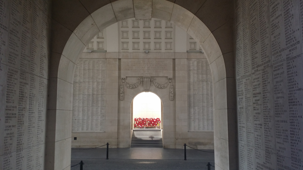 Menin Gate Memorial– View of Menin Gate, Ypres, Belgium. Location of Last Post ceremony every evening at 20:00. View towards location of many Canadian names.