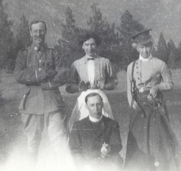 "Group Photo– Is this Nicola Valley Museum photograph John Foster Paton Nash, standing left, ""Miss McPhaile,"" ""Mrs. Meikle"" and James Thompson enjoy a light moment, occasion and date not recorded.  Rev. Thompson was a Church of England  parish priest in the Nicola Valley and he and Nash both served in a militia regiment headquartered in the valley before the Great War. 