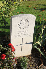 Photo of The grave– The grave marker at the Railway Dugouts Burial Ground Cemetery located approximately 3 kilometres to the south of Ieper, Belgium. May he rest in peace. (J. Stephens 2010)