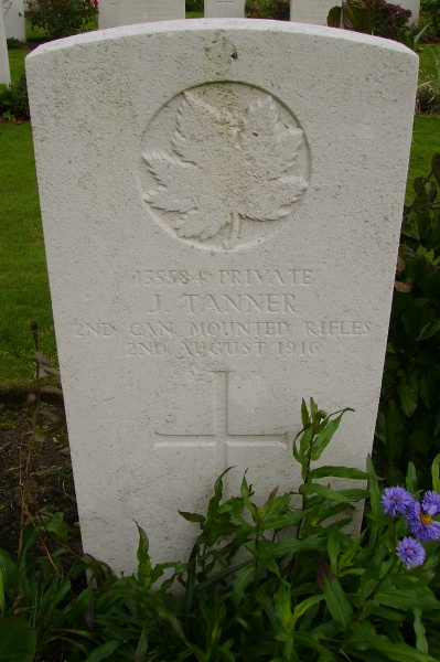 Grave Marker– The grave marker at the Railway Dugouts Burial Ground Cemetery located approximately 3 kilometres to the south of Ieper, Belgium. May he rest in peace. Photo courtesy of Marg Liessens