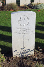 Photo of Private G.A Taylor– The grave marker at the Railway Dugouts Burial Ground Cemetery located approximately 3 kilometres to the south of Ieper, Belgium. May he rest in peace. (J. Stephens 2010)