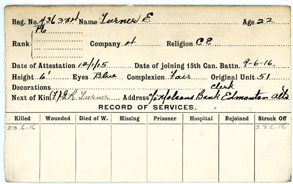 Record of Service– Record of Service Card (front side).  Courtesy 48th Highlanders of Canada Museum.  Submitted by 15th Bn Memorial Project Team.  DILEAS GU BRATH