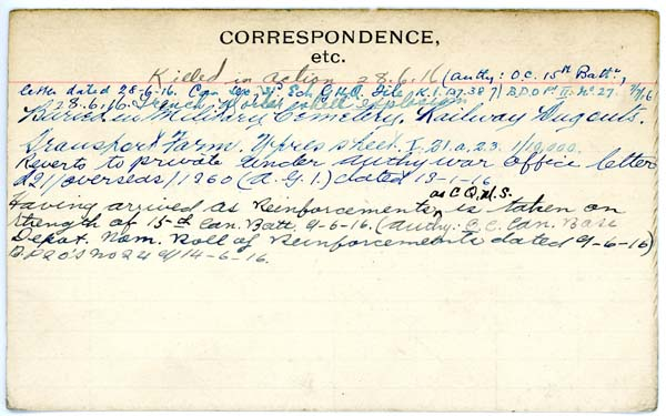Record of Service– Record of Service Card (reverse side).  Courtesy 48th Highlanders of Canada Museum.  Submitted by 15th Bn Memorial Project Team.  DILEAS GU BRATH