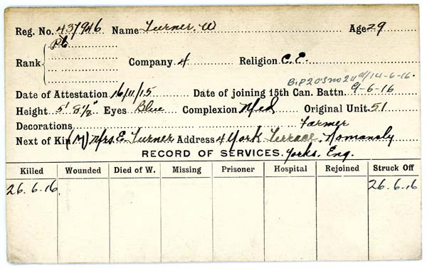 Record of Service– Record of Service Card (front side).  Courtesy 48th Highlanders Museum.  Submitted by 15th Bn Memorial Project.  DILEAS GU BRATH
