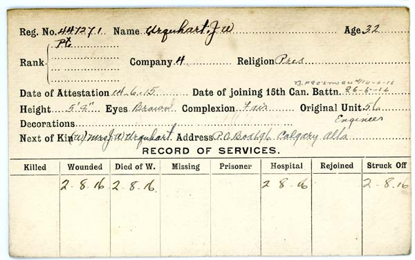 Record of Service– Record of Service Card (front side).  Courtesy 48th Highlanders Museum.  Submitted by 15th Bn Memorial Project Team.  DILEAS GU BRATH