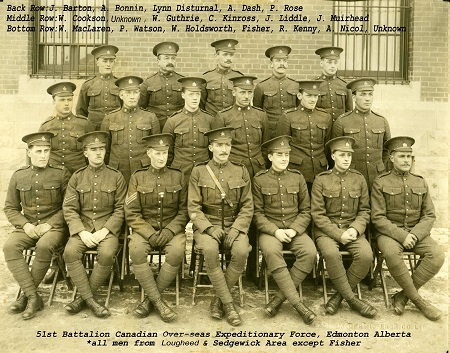 Photo of Patrick Watson– Pte Patrick Balfour Watson, originally of the 51st Battalion CEF was KIA on the Somme during the battle of Thiepval Ridge -Regina Trench on 26 Sept 1916 while served with the 15th Battalion CEF. In this photograph of 51st Battalion volunteers from Lougheed and Sedgewick Alberta, he is seated second from the left in the front row.  Submitted by BGen G Young, 15th Battalion CEF Memorial Project 1 Sept 2014.  Dileas Gu Brath